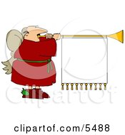 White Male Christmas Angel Playing Music With Blank Sign Clipart Illustration