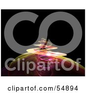 Royalty Free RF Clipart Illustration Of A Spiraling Yellow And Pink Fractal Tendril Rising Over Black