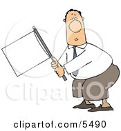 Submissive Businessman Holding A White Flag Clipart Illustration by djart