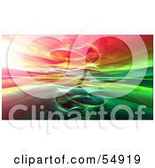 Royalty Free RF Clipart Illustration Of A Background Of A Circling Red Yellow And Green Fractal Reflection
