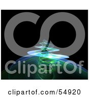 Royalty Free RF Clipart Illustration Of A Spiraling Green Fractal Tendril Rising Over Black