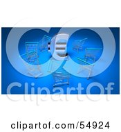 Royalty Free RF Clipart Illustration Of A 3d Euro Symbol Surrounded By Shopping Carts Version 3