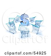 Royalty Free RF Clipart Illustration Of A 3d Dollar Symbol Surrounded By Shopping Carts Version 4