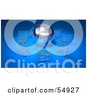 Royalty Free RF Clipart Illustration Of A 3d Globe Surrounded By Shopping Carts Version 3