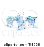 Royalty Free RF Clipart Illustration Of A 3d Euro Symbol Surrounded By Shopping Carts Version 2