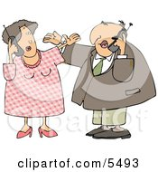 American Men And Women Talking On Cellphones Clipart Illustration