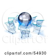 Royalty Free RF Clipart Illustration Of A 3d Globe Surrounded By Shopping Carts Version 4