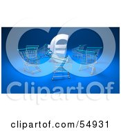 Royalty Free RF Clipart Illustration Of A 3d Euro Symbol Surrounded By Shopping Carts Version 1