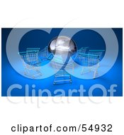 Royalty Free RF Clipart Illustration Of A 3d Globe Surrounded By Shopping Carts Version 1