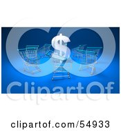 Royalty Free RF Clipart Illustration Of A 3d Dollar Symbol Surrounded By Shopping Carts Version 1