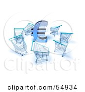 Royalty Free RF Clipart Illustration Of A 3d Euro Symbol Surrounded By Shopping Carts Version 4