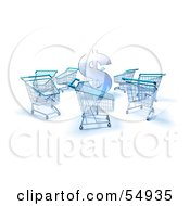 Royalty Free RF Clipart Illustration Of A 3d Dollar Symbol Surrounded By Shopping Carts Version 2