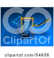 Royalty Free RF Clipart Illustration Of A 3d Arrow Over An Oil Barrel In A Shopping Cart Version 5