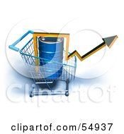 Royalty Free RF Clipart Illustration Of A 3d Arrow Over An Oil Barrel In A Shopping Cart Version 6