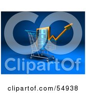 Royalty Free RF Clipart Illustration Of A 3d Arrow Over An Oil Barrel In A Shopping Cart Version 1