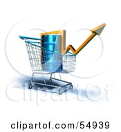 Royalty Free RF Clipart Illustration Of A 3d Arrow Over An Oil Barrel In A Shopping Cart Version 2