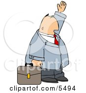 Businessman With Briefcase Trying To Wave Down A Taxi In A Big City Clipart Illustration