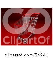 Royalty Free RF Clipart Illustration Of A 3d Empty Red Rimmed Shopping Cart Version 1