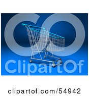 Royalty Free RF Clipart Illustration Of A 3d Empty Blue Rimmed Shopping Cart Version 3