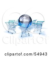 Royalty Free RF Clipart Illustration Of A 3d Globe Surrounded By Shopping Carts Version 2