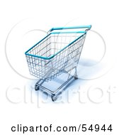 Royalty Free RF Clipart Illustration Of A 3d Empty Blue Rimmed Shopping Cart Version 2