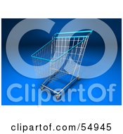 Royalty Free RF Clipart Illustration Of A 3d Empty Blue Rimmed Shopping Cart Version 1