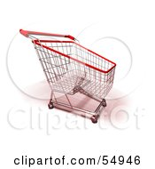 Royalty Free RF Clipart Illustration Of A 3d Empty Red Rimmed Shopping Cart Version 4