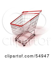 Royalty Free RF Clipart Illustration Of A 3d Empty Red Rimmed Shopping Cart Version 2