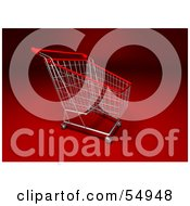 Royalty Free RF Clipart Illustration Of A 3d Empty Red Rimmed Shopping Cart Version 3