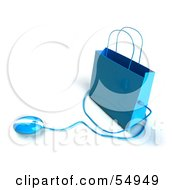 Royalty Free RF Clipart Illustration Of A 3d Blue Shopping Bag With A Computer Mouse Version 4