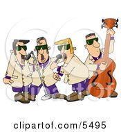Musicians Playing 1950s Style Blues Music Clipart Illustration