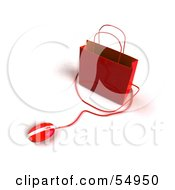 Royalty Free RF Clipart Illustration Of A 3d Red Shopping Bag With A Computer Mouse
