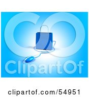Royalty Free RF Clipart Illustration Of A 3d Blue Shopping Bag With A Computer Mouse Version 3