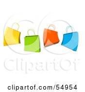 Royalty Free RF Clipart Illustration Of A 3d Group Of Colorful Jumping Shopping Bags by Julos