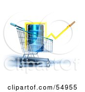 Royalty Free RF Clipart Illustration Of A 3d Arrow Over An Oil Barrel In A Shopping Cart Version 4