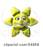 Royalty Free RF Clipart Illustration Of A 3d Cheery Yellow Sun Smiling Version 1 by Julos