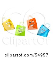 Royalty Free RF Clipart Illustration Of A 3d Group Of Four Happy Colorful Shopping Bag Faces by Julos