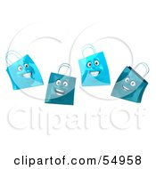 Royalty Free RF Clipart Illustration Of A 3d Group Of Four Happy Blue Shopping Bag Faces by Julos