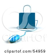 Royalty Free RF Clipart Illustration Of A 3d Blue Shopping Bag With A Computer Mouse Version 5
