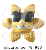 Royalty Free RF Clipart Illustration Of A 3d Cheery Yellow Sun Smiling And Wearing Shades Version 1 by Julos