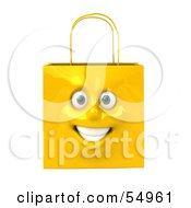 Royalty Free RF Clipart Illustration Of A 3d Yellow Shiny Smiling Shopping Bag Head by Julos