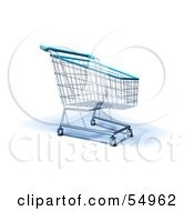 Royalty Free RF Clipart Illustration Of A 3d Empty Blue Rimmed Shopping Cart Version 4