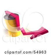 Royalty Free RF Clipart Illustration Of A 3d Pink Arrow Going Around A Yellow Oil Barrel Version 3