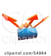 Royalty Free RF Clipart Illustration Of Three 3d Orange Arrows Spanning Over A Blue Oil Barrel Version 1