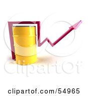 Royalty Free RF Clipart Illustration Of A 3d Pink Arrow Going Around A Yellow Oil Barrel Version 1