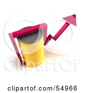 Royalty Free RF Clipart Illustration Of A 3d Pink Arrow Going Around A Yellow Oil Barrel Version 4