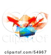 Royalty Free RF Clipart Illustration Of Three 3d Orange Arrows Spanning Over A Blue Oil Barrel Version 3