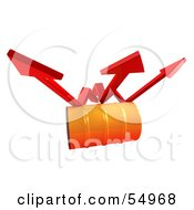Royalty Free RF Clipart Illustration Of Three 3d Red Arrows Spanning Over An Orange Oil Barrel Version 1