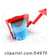 Royalty Free RF Clipart Illustration Of A 3d Red Arrow Going Around A Blue Oil Barrel Version 4
