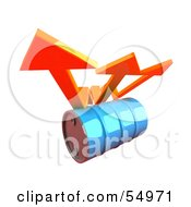 Royalty Free RF Clipart Illustration Of Three 3d Orange Arrows Spanning Over A Blue Oil Barrel Version 2
